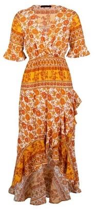 Dorothy Perkins Womens *Blue Vanilla Yellow Wrap Front Dress, Yellow