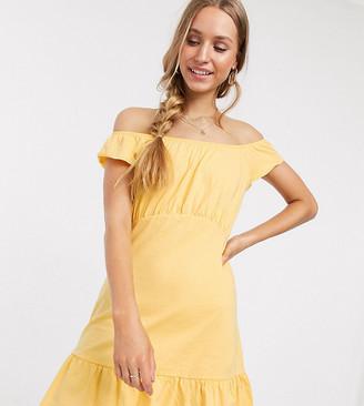 Asos Tall ASOS DESIGN Tall off shoulder mini sundress with pep hem in buttermilk