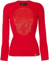 Philipp Plein skull patch top - women - Polyester/Viscose - S