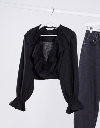 And other stories & co-ord linen frill long sleeve blouse in black