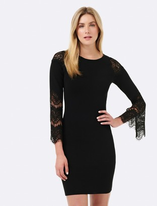 Forever New Blair Lace Sleeve Dress - Black - 4