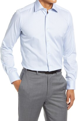 David Donahue Trim Fit Geometric Dress Shirt