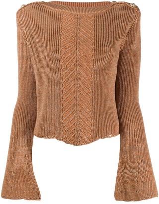 Balmain Herringbone Panel Knitted Jumper