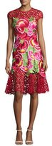 Naeem Khan Floral-Appliqué Sleeveless Cocktail Dress, Red Pattern