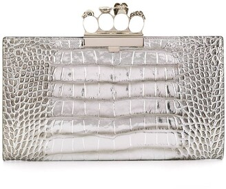 Alexander McQueen Crocodile-Effect Clutch Bag