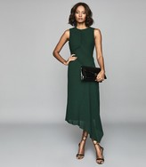 Reiss RHONA PLEATED MIDI DRESS Green