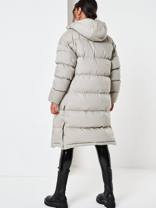 Missguided Longline Padded Coat - Sage