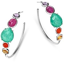 Ippolita Sterling Silver Rock Candy Turquoise Doublet & Multi Gemstone Hoop Earrings
