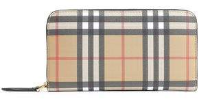 Burberry Leather-trimmed Checked Canvas Continental Wallet