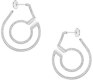 Dinh Van Menottes 18K White Gold & Diamond Hoop Earrings