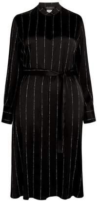 Marina Rinaldi Stripe Metallic Shirt Dress