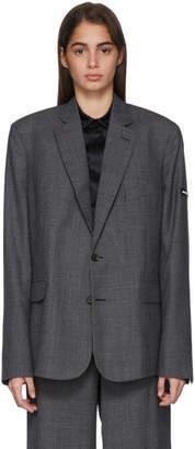 Balenciaga Grey Washed Prince Of Wales Blazer