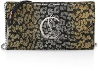 Christian Louboutin Loubi54 Metallic Leopard-Print Suede Clutch