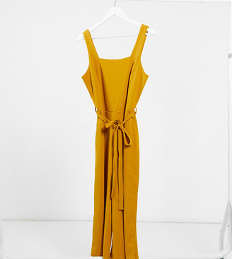 Simply Be belted jumpsuit in yellow