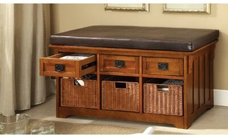 """Hokku Designs Leather Upholstered Storage Bench Size: 23"""" H x 42"""" W x 15.25"""" D"""