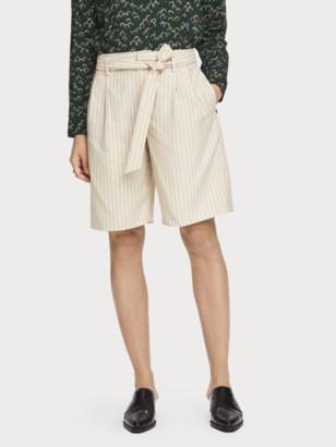 Scotch & Soda Tie Belt Pinstripe Shorts | Women