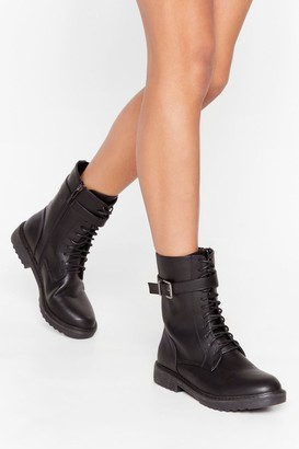 Nasty Gal Womens All Over the Lace Faux Leather Biker Boots - Black