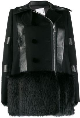 Sacai faux fur-trimmed coat