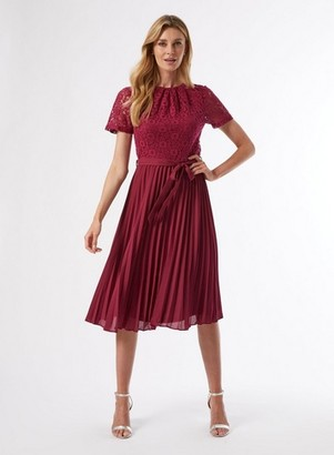 Dorothy Perkins Womens Raspberry Lace Pleat Dress