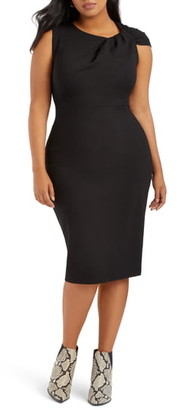ELOQUII Shoulder Twist Ponte Knit Sheath Dress