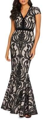 Quiz Cap-Sleeve Lace Mermaid Gown