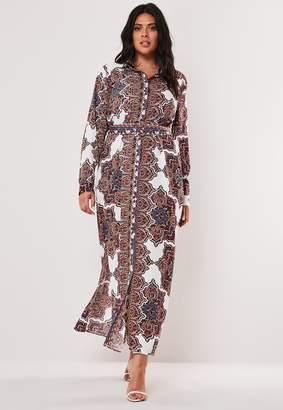 Missguided Plus Size White Paisley Print Maxi Shirt Dress
