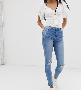 Urban Bliss high waist skinny jean with distressed hem detail