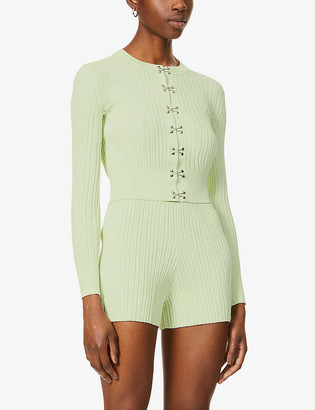 Dion Lee Hook ribbed stretch-jersey cardigan