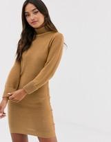 Brave Soul mandy roll neck sweater dress in camel