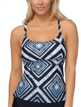 Island Escape Swimwear Major Shade Push-Up Tankini Top, Created for Macy's Women's Swimsuit