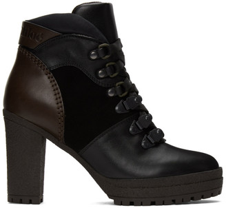See by Chloe Black and Brown Aure Lace-Up Ankle Boots