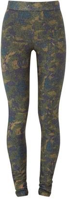 Ganni Metallic Metallic Camouflage-jersey Leggings - Khaki