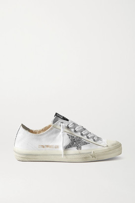 Golden Goose V-star Glittered Distressed Canvas Sneakers - White