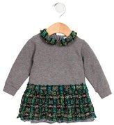 Dolce & Gabbana Girls' Tweed-Paneled Long Sleeve Dress