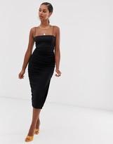 John Zack ruched midi skirt with side split in black