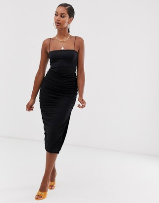 John Zack ruched midi skirt with side split in black