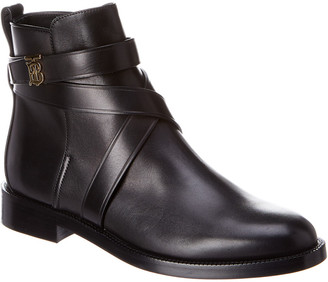Burberry Monogram Motif Leather Ankle Boot