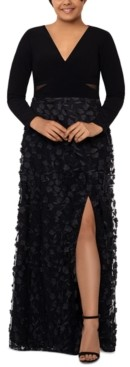 Xscape Evenings Plus Size 3D Floral-Applique Gown