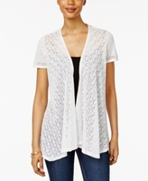 Style&Co. Style & Co Style & Co Petite Mixed-Media Open-Front Cardigan, Created for Macy's