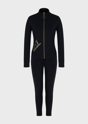 Ea7 Stretch Cotton Tracksuit With Full-Length Zip And Shiny Logo