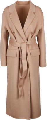 Pinko Double Breasted Coat In Combed Wool
