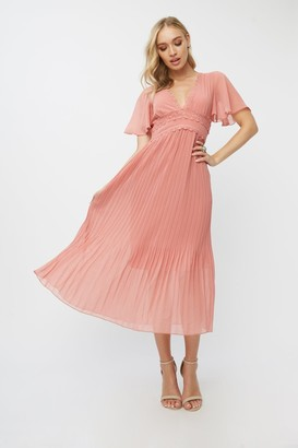 Little Mistress Corrina Desert Rose Lace-Trim Pleated Midaxi Dress