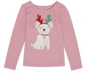 Epic Threads Little Girls Long Sleeve Christmas Puppy Tee
