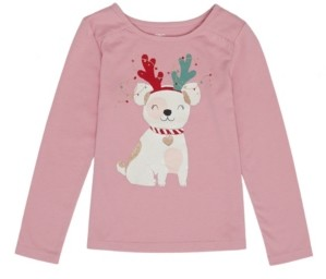 Epic Threads Toddler Girls Long Sleeve Christmas Puppy Tee