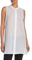 Eileen Fisher Mandarin Collar Sleeveless Shirt