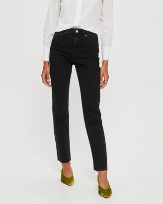 Topshop Washed Raw Hem Straight Leg Jeans