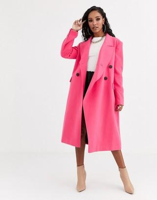 Asos DESIGN asymmetric front formal coat in pink