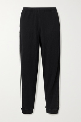 Bassike Net Sustain Canvas-trimmed Waffle-knit Cotton Track Pants - Black