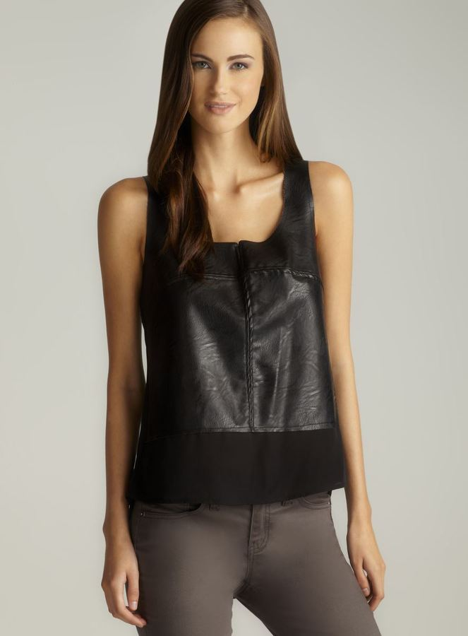 Love Stitch Faux Leather Front Hi-Lo Tank