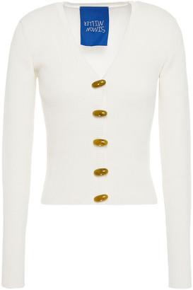 Simon Miller Button-detailed Ribbed Cotton-blend Cardigan